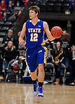 OMAHA, NE - January 10, 2015 -- South Dakota State's Keaton Moffitt (12) drives down court during the first half of their game Saturday evening at the Ralston Arena in Ralston, NE. (Photo By Ty Carlson / DakotaPress)