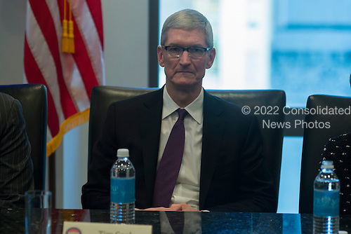 Apple CEO Tim Cook is seen in attendance at a meeting of technology chiefs in the Trump Organization conference room at Trump Tower in New York, NY, USA on December 14, 2016. <br /> Credit: Albin Lohr-Jones / Pool via CNP