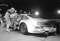 The #05 Porsche of Tico Almeida, Miguel Morejon, and Ernesto Soto makes apit stop at night during the 1983 24 Hours of Daytona , Daytona Internationa Speedway, Daytona Beach, FL, February 1-2, 1983.  (Photo by Brian Cleary / www.bcpix.com)