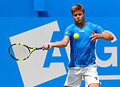 June 19th 2017, Queens Club, West Kensington, London; Aegon Tennis Championships, Day 1; Ryan Harrison (USA) hits a forehand during his first round singles match against number six seed Grigor Dimitrov (BUL)