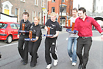 Connr Mohan, DHotel, Sandy Asmus from Sarsfields, Stephen Reilly, Laurence Inn, Gareth Ryan, Riverhouse and Justin Molloy, Westcourt Hotel take part in the Waiter Race as part of the Drogheda Food Festival...Photo NEWSFILE/Jenny Matthews.(Photo credit should read Jenny Matthews/NEWSFILE)....This Picture has been sent you under the condtions enclosed by:.Newsfile Ltd..The Studio,.Millmount Abbey,.Drogheda,.Co Meath..Ireland..Tel: +353(0)41-9871240.Fax: +353(0)41-9871260.GSM: +353(0)86-2500958.email: pictures@newsfile.ie.www.newsfile.ie.FTP: 193.120.102.198.