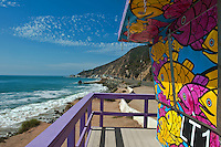 LT1, Lifeguard Tower, Topanga,  CA PCH, Pacific Ocean Waves, Socal Beach, Lifeguard Stations, CA, Geometric, shapes, Lifeguard Towers, Portraits of Hope, Summer of Color exhibit, The flower, beauty, core design, elements, design theme, environment, symbol of joy, universal, youth High dynamic range imaging (HDRI or HDR)