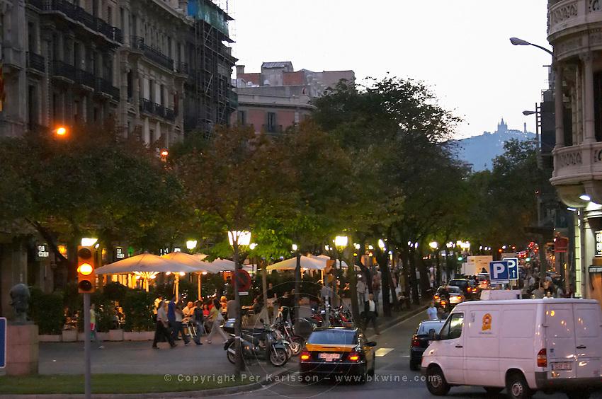 Las Ramblas in the evening. Barcelona, Catalonia, Spain.
