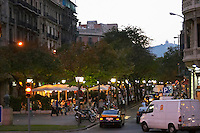Las Ramblas in the evening. Barcelona, Catalonia, Spain.