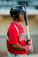 Francisco Lindor (12) of the Carolina Mudcats during batting practice prior to the game against the Winston-Salem Dash at BB&T Ballpark on April 13, 2013 in Winston-Salem, North Carolina.  The Dash defeated the Mudcats 4-1.  (Brian Westerholt/Four Seam Images)
