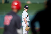 Oregon State Beavers relief pitcher Andrew Walling (40) during an NCAA game against the New Mexico Lobos at Surprise Stadium on February 14, 2020 in Surprise, Arizona. (Zachary Lucy / Four Seam Images)