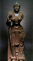 "India: Goddess Holding  Fly Whisk, probably 3rd century B.C.  Didarganj in Patna, Bihar.  Polished sandstone, 64 inches high.  ""One of the earliest visual statements of the Indian Idcal of female beauty.""  Pramod Chandra, THE SCULPTURE OF INDIA, 3000 B.C. - 1800 A.D."
