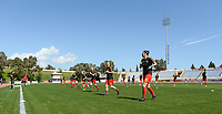 20180228 - LARNACA , CYPRUS :  Belgian team pictured during warming up of the women's soccer game between The Belgian Red Flames and the Czech Republic , on wednesday 28 February 2018 at GSZ Stadium in Larnaca , Cyprus . This is the first game in group B for Belgium during the Cyprus Womens Cup , a prestigious women soccer tournament as a preparation on the World Cup 2019 qualification duels. PHOTO SPORTPIX.BE | DAVID CATRY