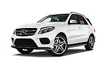 Stock pictures of low aggressive front three quarter view of 2017 Mercedes Benz GLE AMG-43 5 Door SUV Low Aggressive