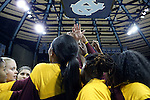 21 November 2015: Iona's players huddle before the game. The University of North Carolina Tar Heels hosted the Iona College Gaels at Carmichael Arena in Chapel Hill, North Carolina in a 2015-16 NCAA Division I Women's Basketball game. UNC won the game 64-52.