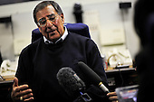 United States Secretary of Defense Leon Panetta meets with reporters aboard a U.S. Air Force E-4B aircraft en route to Tel Aviv, Israel, October 2, 2011. Panetta will meet with leaders in Israel, Palestine and Egypt and at NATO headquarters this week to reaffirm the Defense Departmentís security relationships.  .Mandatory Credit: Jacob N. Bailey / USAF via CNP