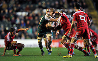 Ed Slater of Leicester Tigers takes on the Munster defence. European Rugby Champions Cup match, between Leicester Tigers and Munster Rugby on December 20, 2015 at Welford Road in Leicester, England. Photo by: Patrick Khachfe / JMP