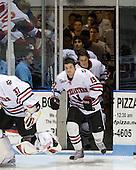 Wade MacLeod (NU - 19) - The Northeastern University Huskies defeated the Bentley University Falcons 3-2 on Friday, October 16, 2009, at Matthews Arena in Boston, Massachusetts.