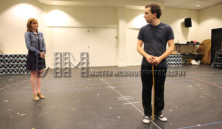 Rob McClure and Erin Mackey.performing in the Press Preview of the New Broadway Show 'Chaplin The Musical'  at Foxwoods Theater Rehearsal Studios on August 7, 2012 in New York City.