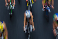 07 JUL 2012 - PARIS, FRA - Competitors on the bike during the elite men's French Grand Prix round of the 2012 Triathlon de Paris around Pont d'Lena, Paris, France (PHOTO (C) 2012 NIGEL FARROW)