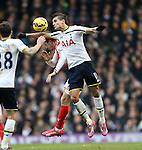 Tottenham's Erik Lamela catches Arsenal's Nacho Monreal with his elbow<br /> <br /> Barclays Premier League- Tottenham Hotspurs vs Arsenal  - White Hart Lane - England - 7th February 2015 - Picture David Klein/Sportimage