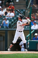 Rochester Red Wings first baseman James Beresford (2) at bat during a game against the Pawtucket Red Sox on June 29, 2016 at Frontier Field in Rochester, New York.  Pawtucket defeated Rochester 3-2.  (Mike Janes/Four Seam Images)