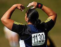 Valerie Vili shows her frustration at not being able to throw past the 20m mark in the women's shot put final during day two of the National athletics championships at Newtown Park, Wellington, New Zealand on Saturday, 28 March 2009. Photo: Dave Lintott / lintottphoto.co.nz