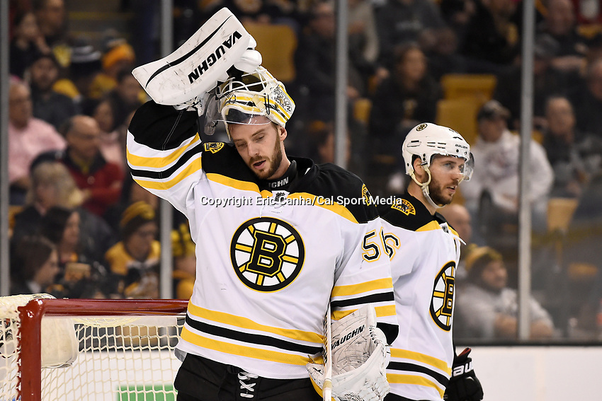Tuesday, February 9, 2016: Boston Bruins goalie Jonas Gustavsson (50) and center David Krejci (46) wait for play to begin during the National Hockey League game between the Los Angeles Kings and the Boston Bruins, held at TD Garden, in Boston, Massachusetts. The Kings defeat the Bruins 9-2. Eric Canha/CSM