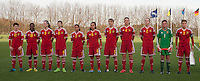 20151128 - Tubize , Belgium : team of Belgium pictured during the female soccer match between Women under 16 teams of  Belgium and Germany , in Tubize . Saturday 28th November 2015 . PHOTO DIRK VUYLSTEKE