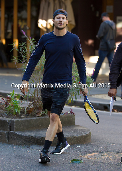 11 MAY 2015 SYDNEY AUSTRALIA<br /> <br /> EXCLUSIVE PICTURES<br /> <br /> Jason Dundas pictured enjoying lunch with a pal at a notorious Potts Point eatery after hitting the tennis courts. Jason Dundas is back in town from the USA to promote David Jones and was spotted having lunch and sipping on some power juices with a friend after a spot of tennis. The duo seemed to be having a good time and were laughing animatedly at some videos on Dundas' phone.