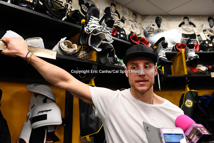 April 13, 2015 - Boston, Massachusetts, U.S. - Boston Bruins center Gregory Campbell (11) speaks to the press at the Boston Bruins final season press conference held at TD Garden in Boston Massachusetts. Campbell was told by the team tat he would not return to the Bruins for the upcoming season. Eric Canha/CSM