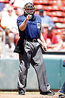 May 21, 2009:  Home Plate Umpire Kevin Causey during the final out of a game at Coca-Cola Field in Buffalo, NY.  Photo by:  Mike Janes/Four Seam Images