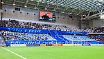 Stockholm 2014-04-06 Fotboll Allsvenskan Djurg&aring;rdens IF - Halmstads BK :  <br /> Djurg&aring;rdens supportrar med banderoller och ett tifo innan matchen som en hyllning till den Djurg&aring;rdssupporter som avled i samband med den allsvenska premi&auml;ren i Helsingborg<br /> (Foto: Kenta J&ouml;nsson) Nyckelord:  Djurg&aring;rden DIF Tele2 Arena Halmstad HBK supporter fans publik supporters tifo hyllning Myggan Stefan Isaksson
