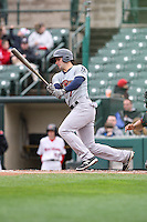 Scranton Wilkes-Barre Railriders shortstop Pete Kozma (7) bats against the Rochester Red Wings on May 1, 2016 at Frontier Field in Rochester, New York. Red Wings won 1-0.  (Christopher Cecere/Four Seam Images)