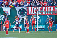 Portland, OR - Saturday July 22, 2017: Emily Sonnett, Kristie Mewis during a regular season National Women's Soccer League (NWSL) match between the Portland Thorns FC and the Washington Spirit at Providence Park.