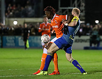 Blackpool's Armand Gnanduillet competing with Solihull Moors' Alex Gudger<br /> <br /> Photographer Andrew Kearns/CameraSport<br /> <br /> The Emirates FA Cup Second Round - Solihull Moors v Blackpool - Friday 30th November 2018 - Damson Park - Solihull<br />  <br /> World Copyright © 2018 CameraSport. All rights reserved. 43 Linden Ave. Countesthorpe. Leicester. England. LE8 5PG - Tel: +44 (0) 116 277 4147 - admin@camerasport.com - www.camerasport.com