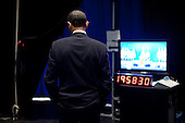 West Point, NY - December 1, 2009 -- United States President Barack Obama waits backstage moments before being introduced to deliver his speech on Afghanistan at the U.S. Military Academy at West Point, Tuesday, December 1, 2009.Mandatory Credit: Pete Souza - White House via CNP