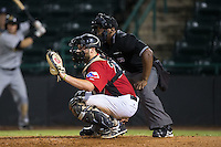 Hickory Crawdads catcher Chuck Moorman (29) sets a target as home plate umpire Christopher Lloyd looks on during the game against the Charleston RiverDogs at L.P. Frans Stadium on August 25, 2015 in Hickory, North Carolina.  The Crawdads defeated the RiverDogs 7-4.  (Brian Westerholt/Four Seam Images)