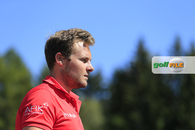 Tyrrell HATTON (ENG) walks off the 14th tee during Saturday's Round 3 of the 2014 Omega European Masters held at the Crans Montana Golf Club, Crans-sur-Sierre, Switzerland.: Picture Eoin Clarke, www.golffile.ie: 6th September 2014