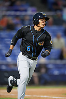 Akron RubberDucks shortstop Yu-Cheng Chang (6) runs to first base during a game against the Binghamton Rumble Ponies on May 12, 2017 at NYSEG Stadium in Binghamton, New York.  Akron defeated Binghamton 5-1.  (Mike Janes/Four Seam Images)