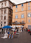 Artists display their work in the Piazza Navona (Rome, Italy).