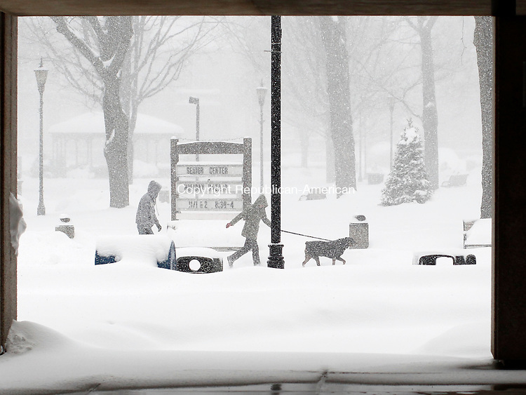 Naugatuck, CT- 04 February 2014-020214CM07-  A couple walk a dog on the town green during a winter storm in Naugatuck on Thursday.   Christopher Massa Republican-American
