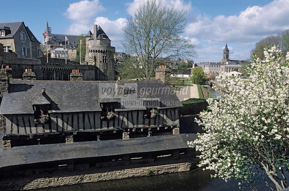 Europe/France/Bretagne/56/Morbihan/Vannes: Les remparts sur la rivière Marle et la Tour du Connetable