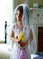 Ava Grey Shurtleff in her Rapunzel Wedding Dress at age 4 at home in Charlottesville.  Photo/Andrew Shurtleff