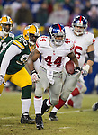 New York Giants running back Ahmad Bradshaw (44) carries the ball during an NFL divisional playoff football game against the Green Bay Packers on January 15, 2012 in Green Bay, Wisconsin. The Giants won 37-20. (AP Photo/David Stluka)