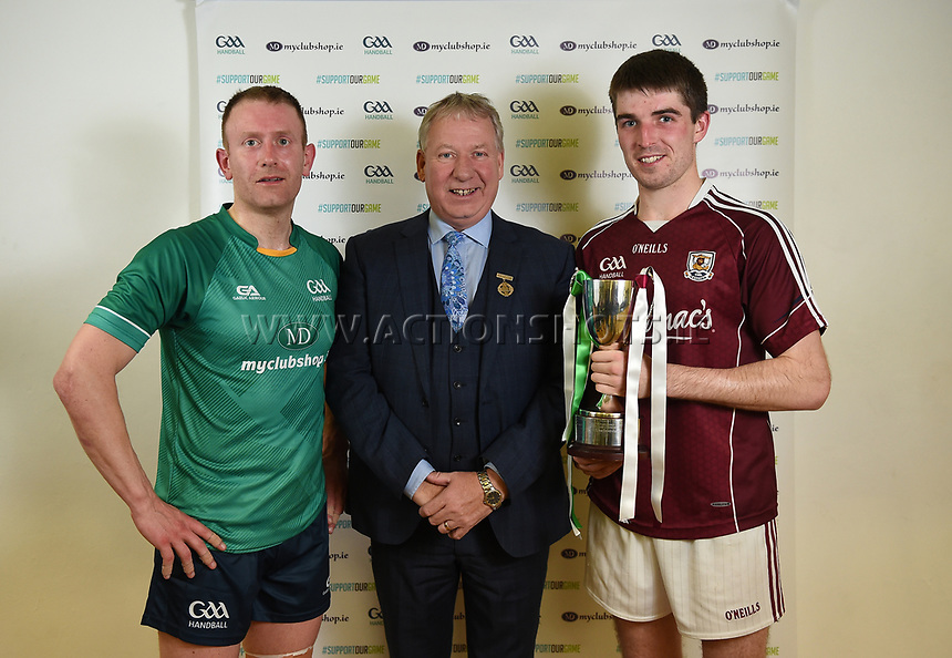 07/10/2017; Myclubshop.ie All-Ireland Handball 60x30 Championship, Men&rsquo;s Intermediate Singles Final - Martin Mulkerrins (Galway) vs JP O&rsquo;Connor (Limerick); GAA Handball Center, Croke Park, Dublin;<br /> GAA Handball President Joe Masterson with runner up JP O&rsquo;Connor of Limerick and winner Martin Mulkerrins of Galway<br /> Photo Credit: actionshots.ie/Tommy Grealy