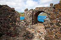 Ruins and views of Leinster Bay<br /> along the Johnny Horn Trail<br /> Virgin Islands National Park<br /> St. John<br /> U.S. Virgin Islands
