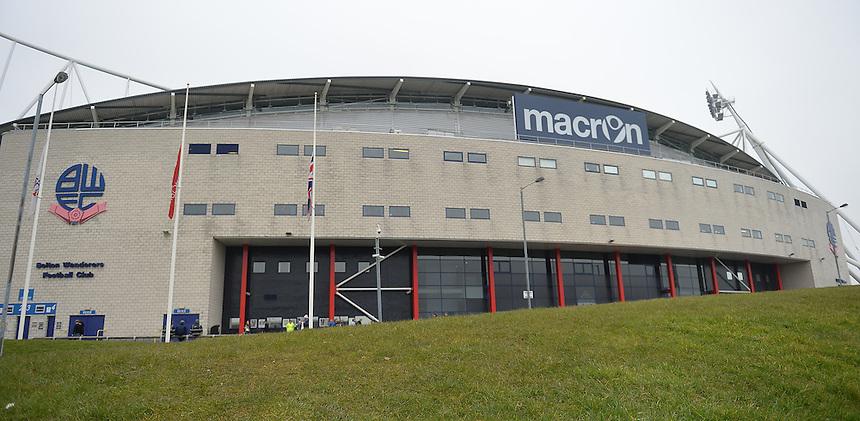 A general view of the Macron Stadium home of Bolton Wanderers<br /> <br /> Photographer Dave Howarth/CameraSport<br /> <br /> Football - The Football League Sky Bet Championship - Bolton Wanderers v Preston North End - Saturday 12th March 2016 - Macron Stadium - Bolton <br /> <br /> &copy; CameraSport - 43 Linden Ave. Countesthorpe. Leicester. England. LE8 5PG - Tel: +44 (0) 116 277 4147 - admin@camerasport.com - www.camerasport.com