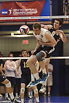27 APR 2014: Chad Albert (9) of Juniata College spikes against Springfield College during the Division III Men's Volleyball Championship held at the Kennedy Sports Center in Huntingdon, PA. Springfield defeated Juniata 3-0 to win the national title.  Mark Selders/NCAA Photos