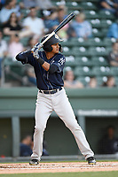 Left fielder Leonardo Molina (20) of the Charleston RiverDogs bats in a game against the Greenville Drive on Friday, April 27, 2018, at Fluor Field at the West End in Greenville, South Carolina. Greenville won, 5-4. (Tom Priddy/Four Seam Images)