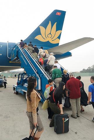 Asia, Vietnam, Hanoi. Hanoi. Hanoi Airport. Vietnam Airlines.