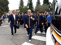 California head coach Jeff Tedford walks to the Memorial Stadium with his players before the game against Nevada at Memorial Stadium in Berkeley, California on September 1st, 2012.  Nevada Wolf Pack defeated California, 31-24.