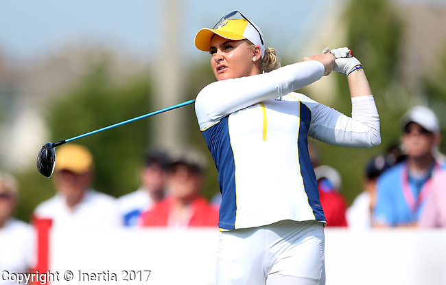 DES MOINES, IA - AUGUST 18: Europe's Charley Hull hits her tee shot on the 12th hole during Friday's morning match at the 2017 Solheim Cup in Des Moines, IA. (Photo by Dave Eggen/Inertia)