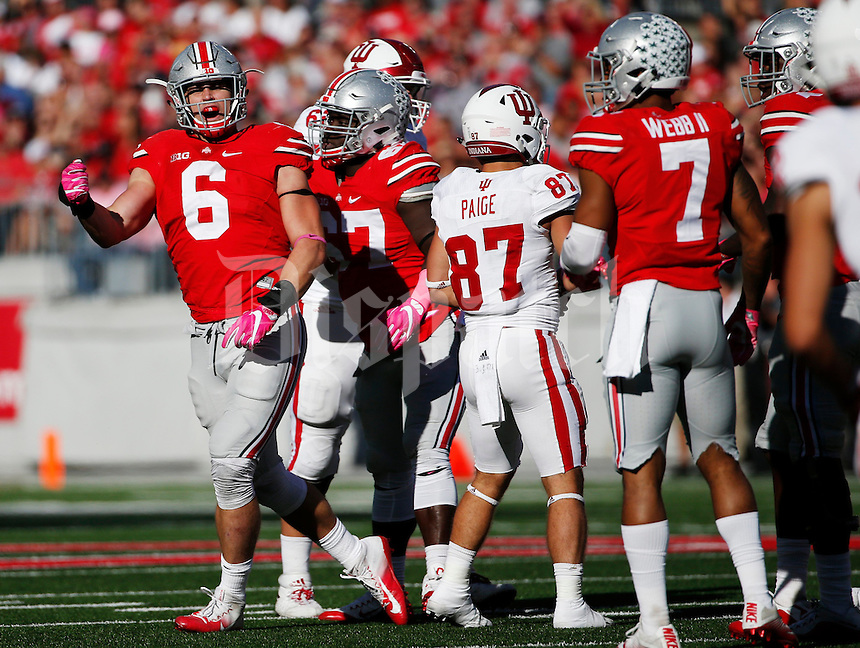 Ohio State Buckeyes defensive end Sam Hubbard (6) reacts after the defense stopped Indiana for a loss during the first half of a NCAA Division I college football game between the Ohio State Buckeyes and the Indiana Hoosiers on Saturday, October 8, 2016 at Ohio Stadium in Columbus, Ohio. (Joshua A. Bickel/The Columbus Dispatch)
