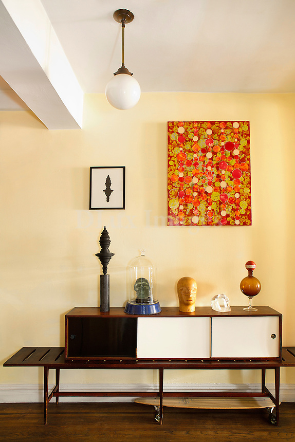 Corner with artworks<br /> <br /> Large Prewar apartment on Upper West Side of Manhattan which is home to an artist couple, Taro Suzuki and Elizabeth Cannon.